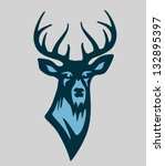 animal,antler,blue,buck,deer,desigh element,design,drawing,game,graphic,hunt,hunter,mammal,mark,mascot