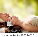 spa massage. facial massage... | Shutterstock . vector #132916313