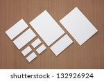 Blank Envelopes Business card Documents and Folder on wood texture / Corporate id stationary - stock photo