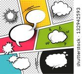Comic Speech Bubbles on a comic strip background, vector illustration | Shutterstock vector #132942593