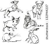 Animals Of Asian Zodiac Six...