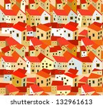 seamless pattern with spanish houses
