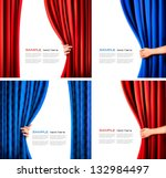 Set of backgrounds with red and blue velvet curtain and hand. Vector illustration. - stock vector