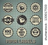 Vector Set: Mixed Martial Arts Labels and Icons