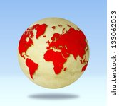 Red globe world map. Derived from NASA image. - stock photo