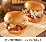 two bbq pulled pork sandwich sliders - stock photo
