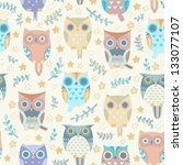 Cute Owls Vector Seamless...