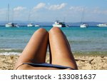 legs and blue bikini beach view ... | Shutterstock . vector #133081637
