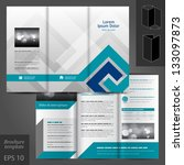 Vector gray brochure template design with blue elements. EPS 10 | Shutterstock vector #133097873