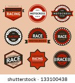 Racing badges, vintage style. Vector illustration - stock vector