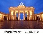 Brandenburg Gate in Berlin, Germany, at dusk - stock photo