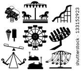 amusement park icons | Shutterstock .eps vector #133152923