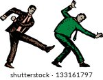 Vector illustration of man kicking another man in butt