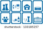 set blue icons goods with...
