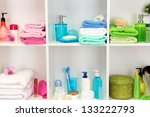 bath accessories on shelfs in... | Shutterstock . vector #133222793