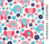 elephant seamless pattern - stock vector