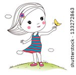 girl playing butterfly | Shutterstock .eps vector #133272863