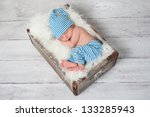 Newborn Baby Wearing Blue And...