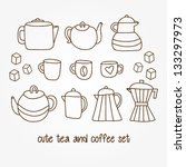 set of cute hand drawn tea and... | Shutterstock .eps vector #133297973