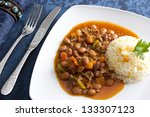 Mexican food, plate of chilli - stock photo