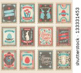 vector postage stamps set....   Shutterstock .eps vector #133331453