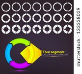Four segment graph circular charts clip art set, in seven template design variations and three variations of thickness - stock vector