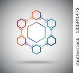 connected cell.the hexagonal...   Shutterstock .eps vector #133341473