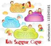 vector illustration of kid playing on cloud for summer camp poster - stock vector