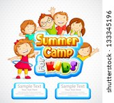 vector illustration of kids summer camp poster - stock vector