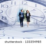 Collage: business people walking and talking in the street - stock photo