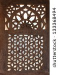 ornament lattice window in rajasthan india - stock photo