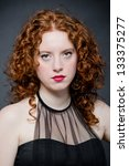Redhead woman - stock photo