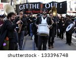 SAN FRANCISCO - FEB. 22:  Unidentified Protesters march against the use of fluoride in drinking water on Feb. 22, 2013, in San Francisco.  The Marchers believe that fluoride causes health problems. - stock photo
