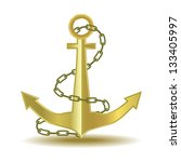 anchor isolated on white with a ... | Shutterstock .eps vector #133405997