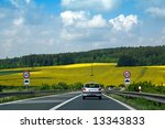 small car on highway with... | Shutterstock . vector #13343833