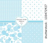 vector set of 4 seamless blue... | Shutterstock .eps vector #133472927