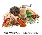 composition with different spices and herbs isolated on white background - stock photo