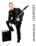 Guy Rock Guitarist In Leather...