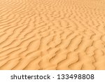 Gold sand dunes in desert at sunset. Thar desert or Great Indian desert. - stock photo