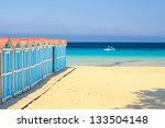 Beach change cabins at Mondello seaside, Sicily. - stock photo