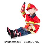 Funny Boy In Fireman Costume...