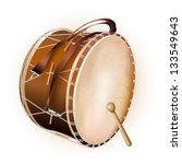 Musical background series. Traditional Turkish drum, isolated on white background