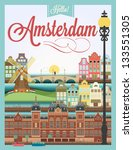 Typographical Retro Style Poster With Amsterdam Symbols And Landmarks - stock vector