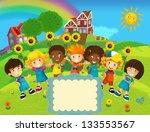 the group of happy preschool... | Shutterstock . vector #133553567