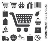shopping icons set.... | Shutterstock .eps vector #133578023