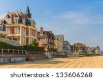 Trouville sur Mer beach promenade, Normandy, France - stock photo