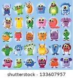 cartoon cute monsters   Shutterstock .eps vector #133607957