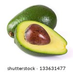 fresh avocado isolated on white ... | Shutterstock . vector #133631477