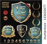anniversary golden shield  set | Shutterstock .eps vector #133632077