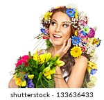 happy woman with flower.... | Shutterstock . vector #133636433